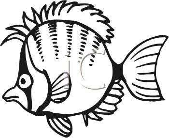 350x285 Black and White Cartoon Punk Fish