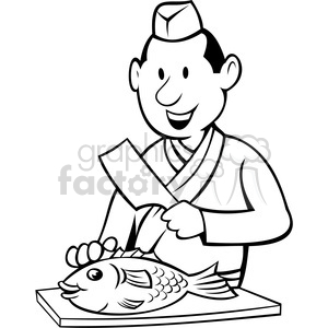 300x300 Royalty Free Chef Preparing Fish Black White Image 388384 Vector