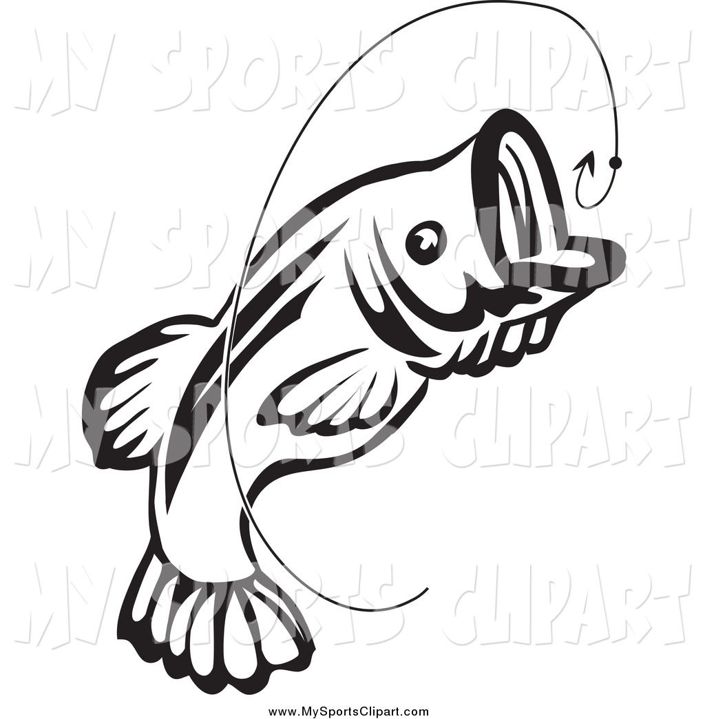 1024x1044 Sports Clip Art Of A Black And White Jumping Fish And Hook By