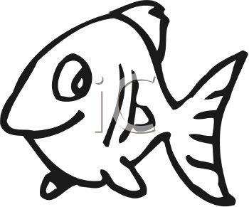 350x291 Black and White Cute Cartoon Fish