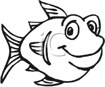 350x289 Black and White Fat Cartoon Fish