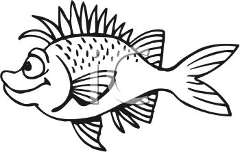 350x222 Black and White Spiky Cartoon Fish