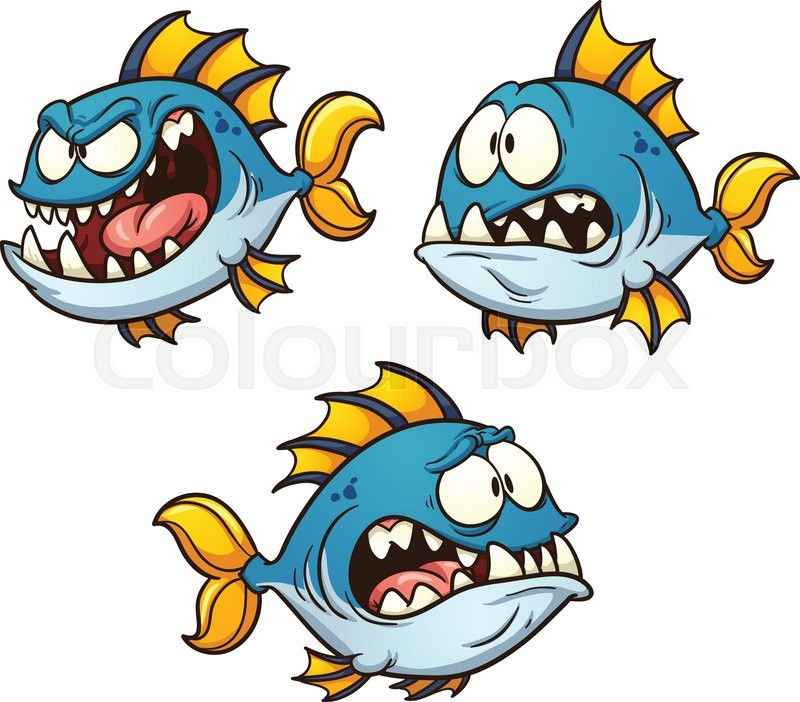 800x702 Big, fat and evil cartoon fish. Vector clip art illustration with
