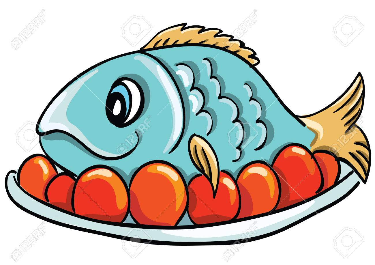 1300x918 Fish On A Plate Clipart