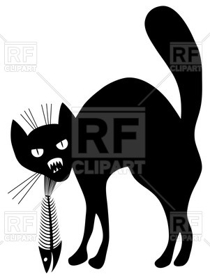 301x400 Silhouette of angry black cat with fish skeleton (fish bone) in