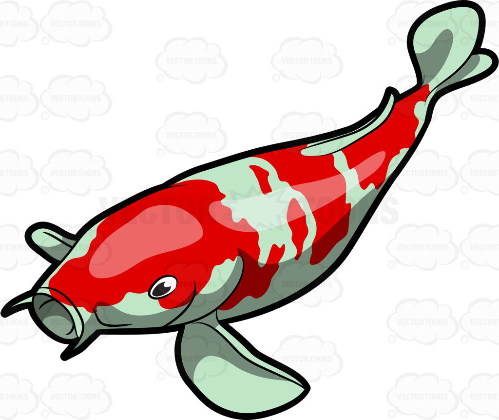 1024x861 A Majestic Koi Fish Cartoon Clipart