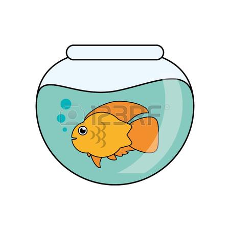 450x450 Fish Animal Cartoon Inside Bowl Icon. Sea Life Ecosystem Fauna