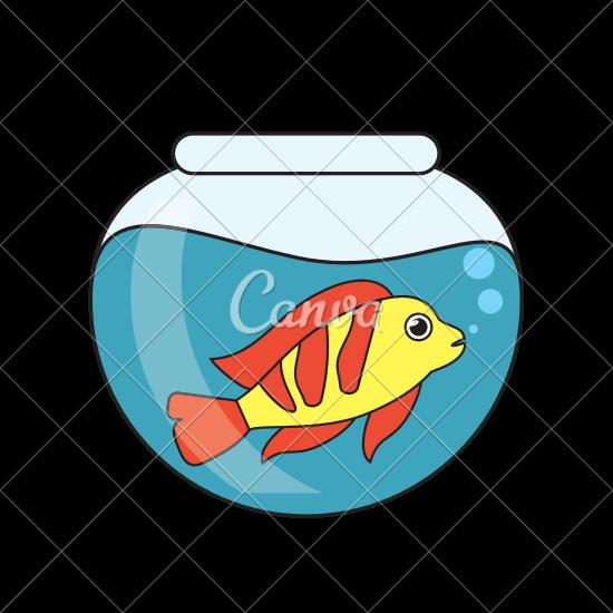 550x550 Fish Animal Cartoon Inside Bowl Design