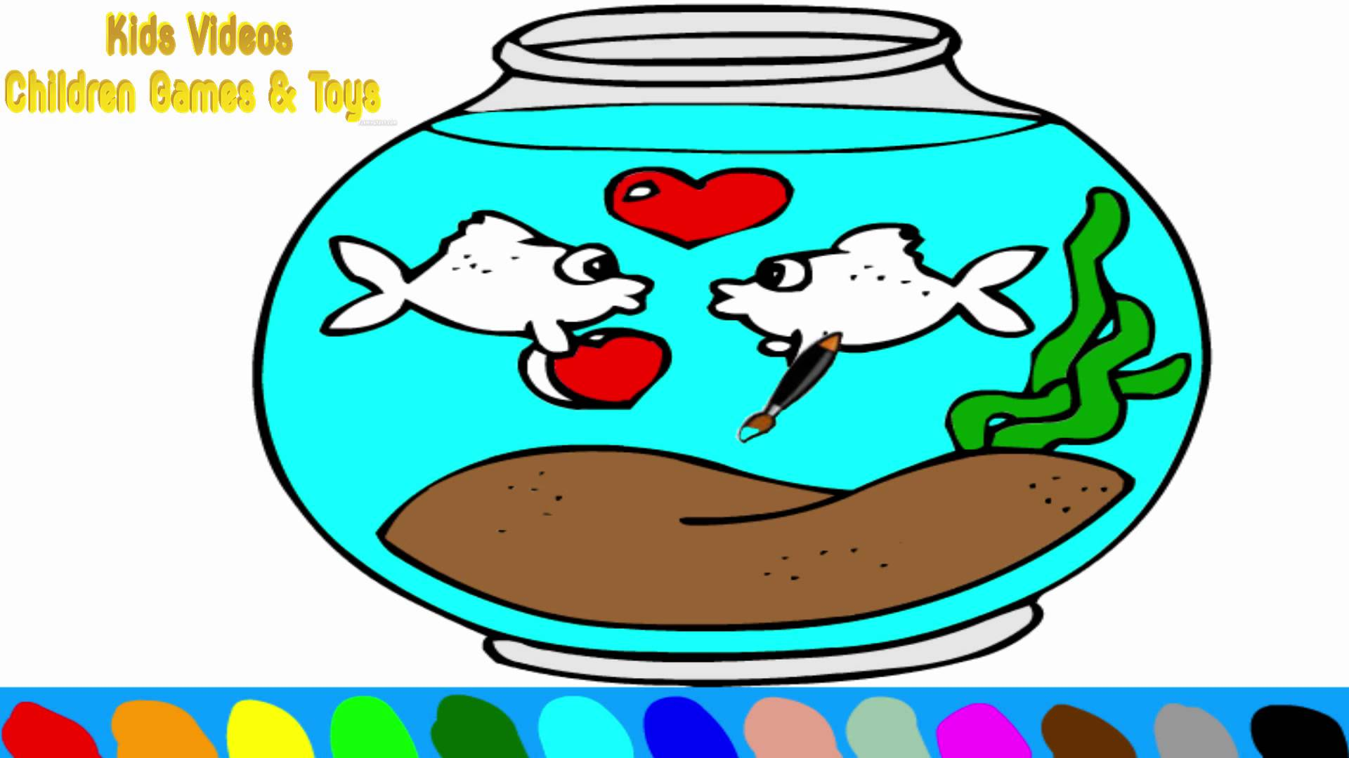 1920x1080 Fish Bowl Coloring Pages For Kids