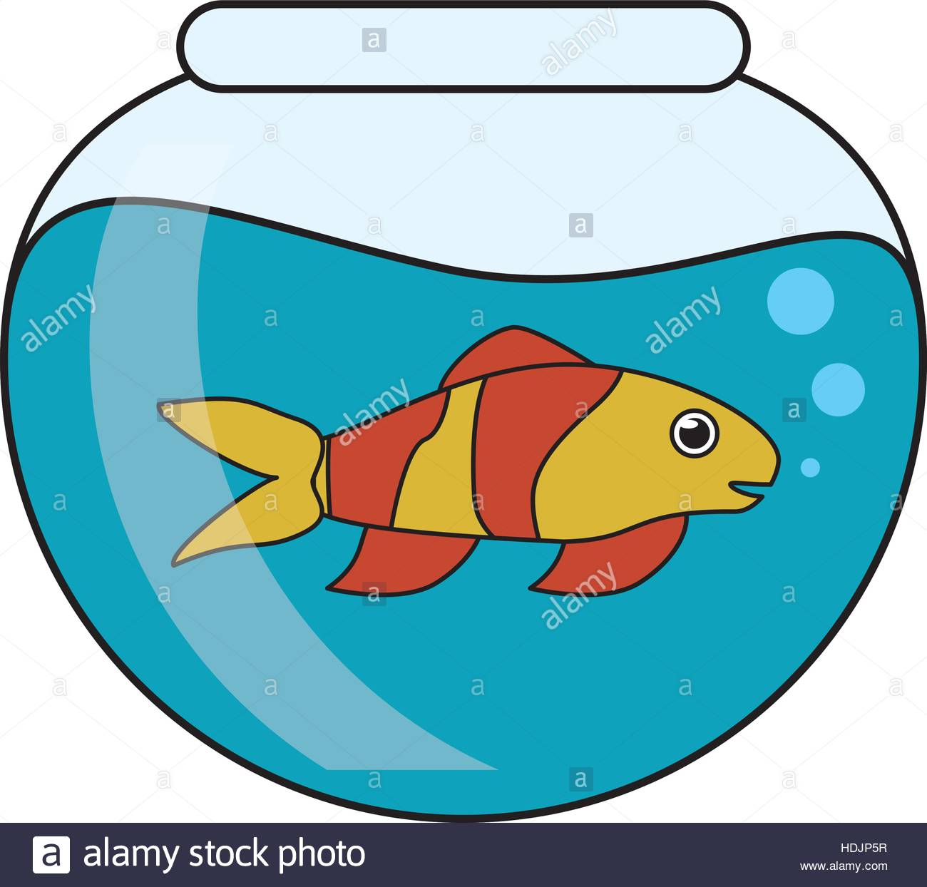 1300x1244 Fish Animal Cartoon Inside Bowl Design Stock Vector Art