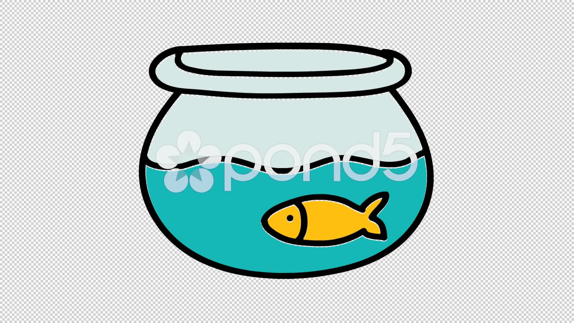 1920x1080 Fish Bowl Hand Drawn Icon Animation With Transparent Background