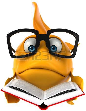 351x450 Cartoon Fish With Glasses In A Fish Bowl Stock Photo, Picture