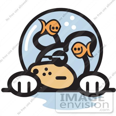 450x450 Royalty Free Cartoon Clip Art Of A Grumpy Dog With Fish Making Fun