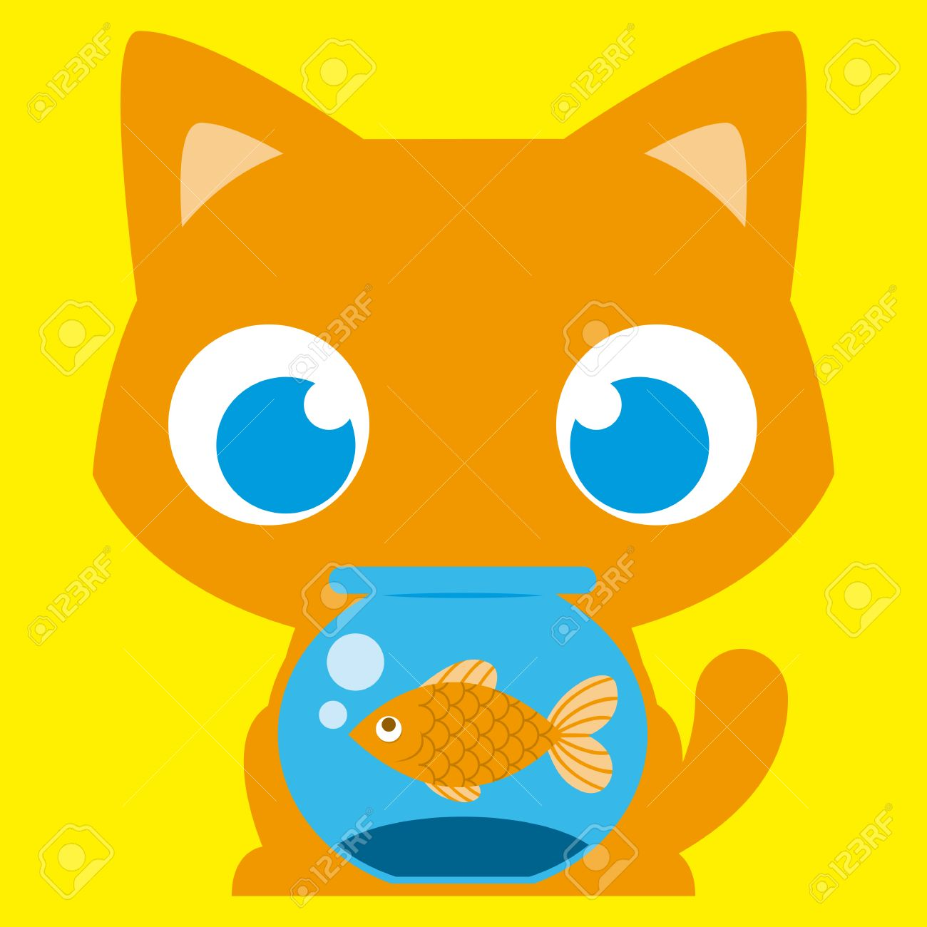 1300x1300 Vector Cartoon Adorable Cat With A Fish In A Fishbowl Royalty Free