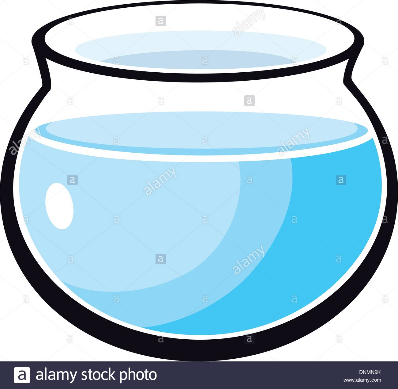 1300x1269 Cartoon Illustration Of Fish Bowl With Water Stock Vector Art