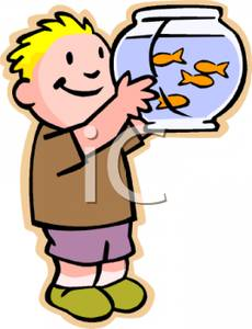 230x300 Colorful Cartoon of a Boy Admiring a Fish Bowl Full of Goldfish
