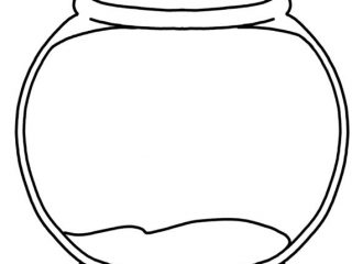 320x240 Fish Bowl Coloring Page Printable. Fish Bowl Goldfish With Big