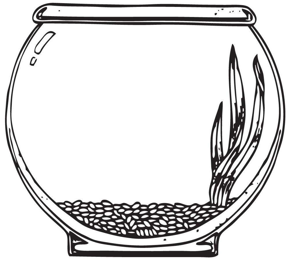 998x909 Fish Bowl Clipart Coloring Page