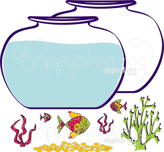 570x530 Fish Bowl Clip Art Pack 300 Dpi Digital Images Fish Bowl