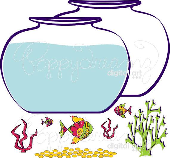570x530 Fish Bowl Clip Art Pack 300 dpi Digital Images Fish Bowl