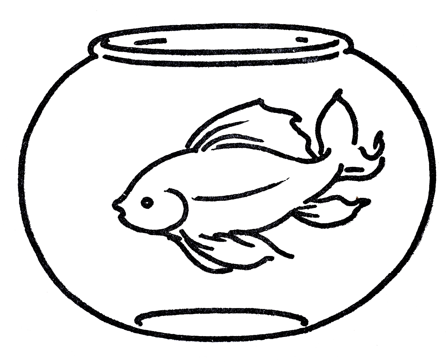 1500x1215 Fish bowl coloring pages clip art