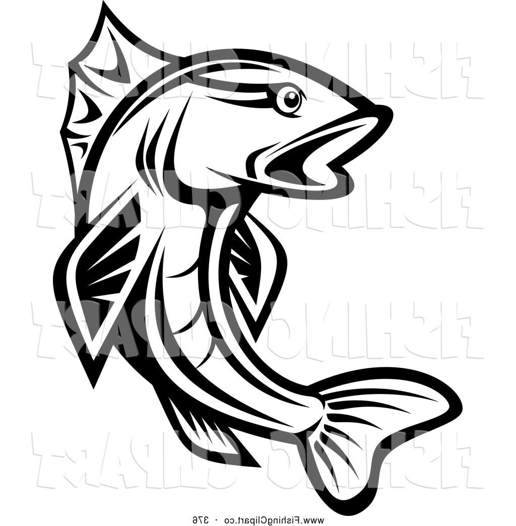 Fish Cartoon Black And White Clipart