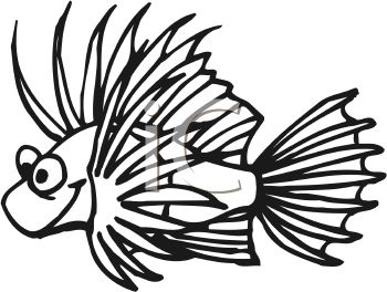 350x264 Black and White Tropical Cartoon Fish