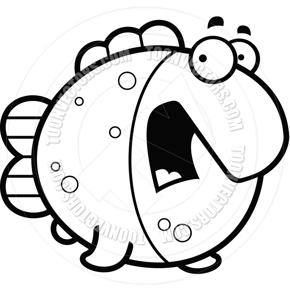 940x940 Cartoon Fish Scared (Black and White Line Art) by Cory Thoman