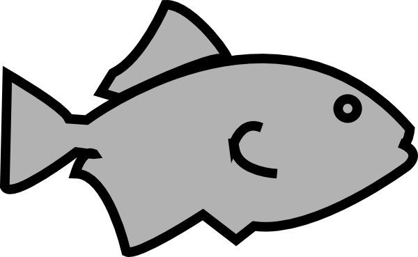 600x369 Fish Outline Grey Clip Art