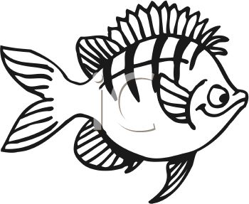 350x287 Black and White Cartoon Fish with Stripes