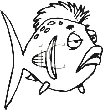 329x350 Black and White Cartoon Fish with a Mohawk