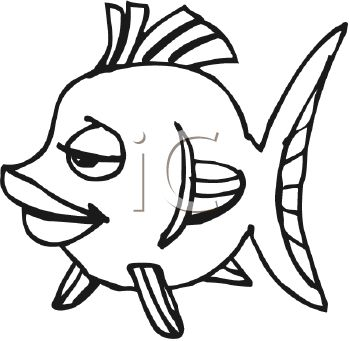 350x341 Black and White Cartoon Girl Fish