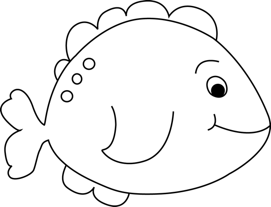 550x420 Black and White Little Fish Clip Art