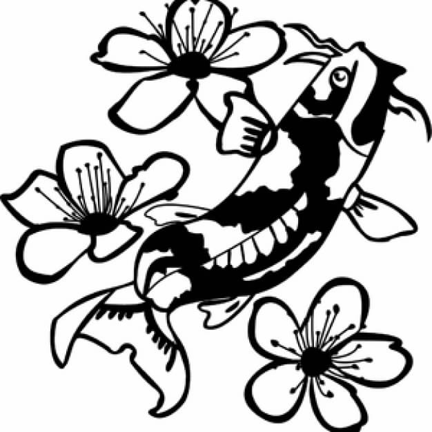 626x626 Koi clipart black and white