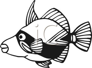 350x258 Black And White Cartoon Bandit Fish