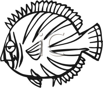 350x301 Black And White Flat Cartoon Fish