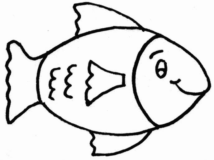 687x515 Coloring Pages Charming Fish Drawings For Kids Kc85ByKKi
