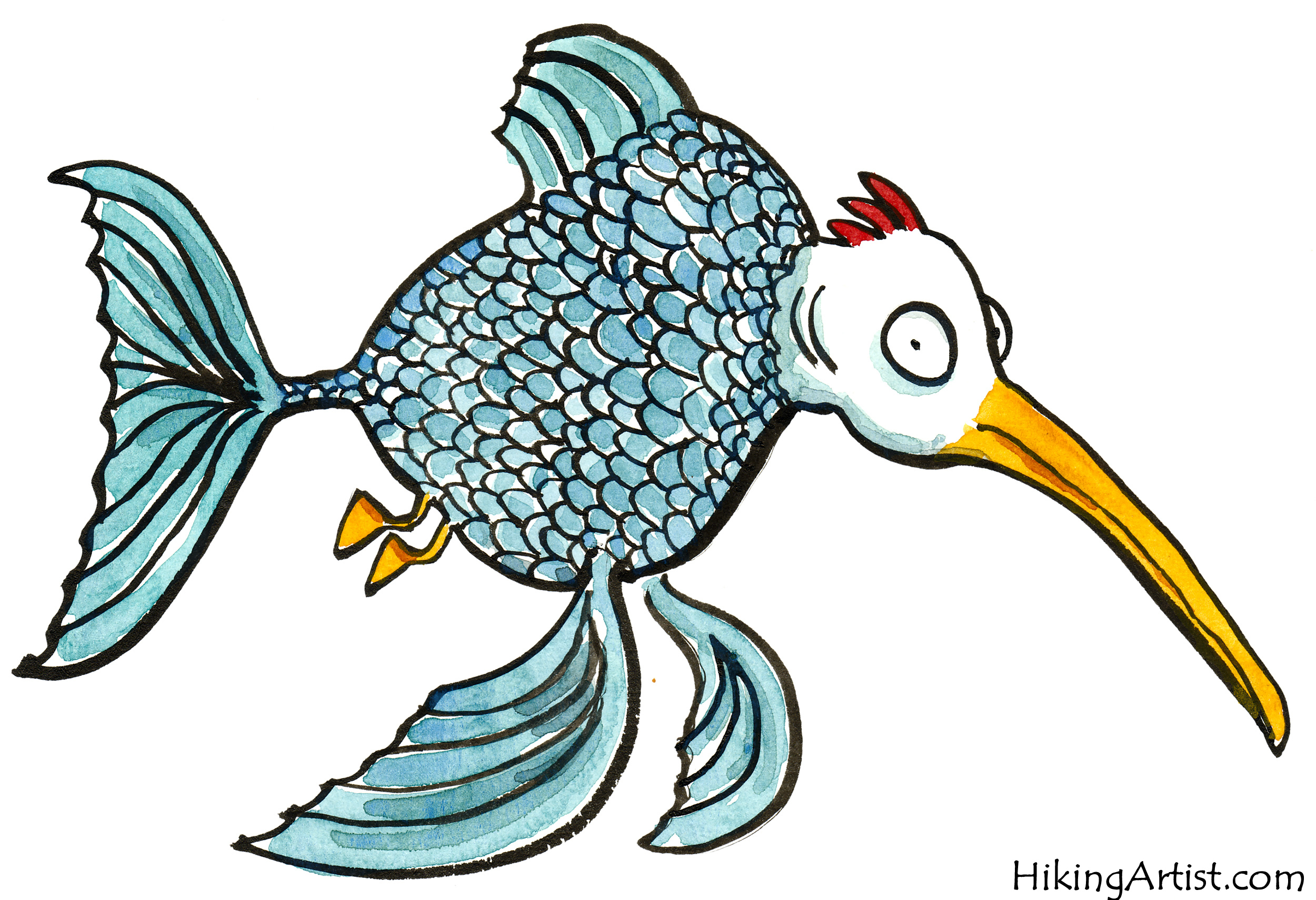 2500x1711 A few free Fish cartoon drawings The Hiking Artist project by
