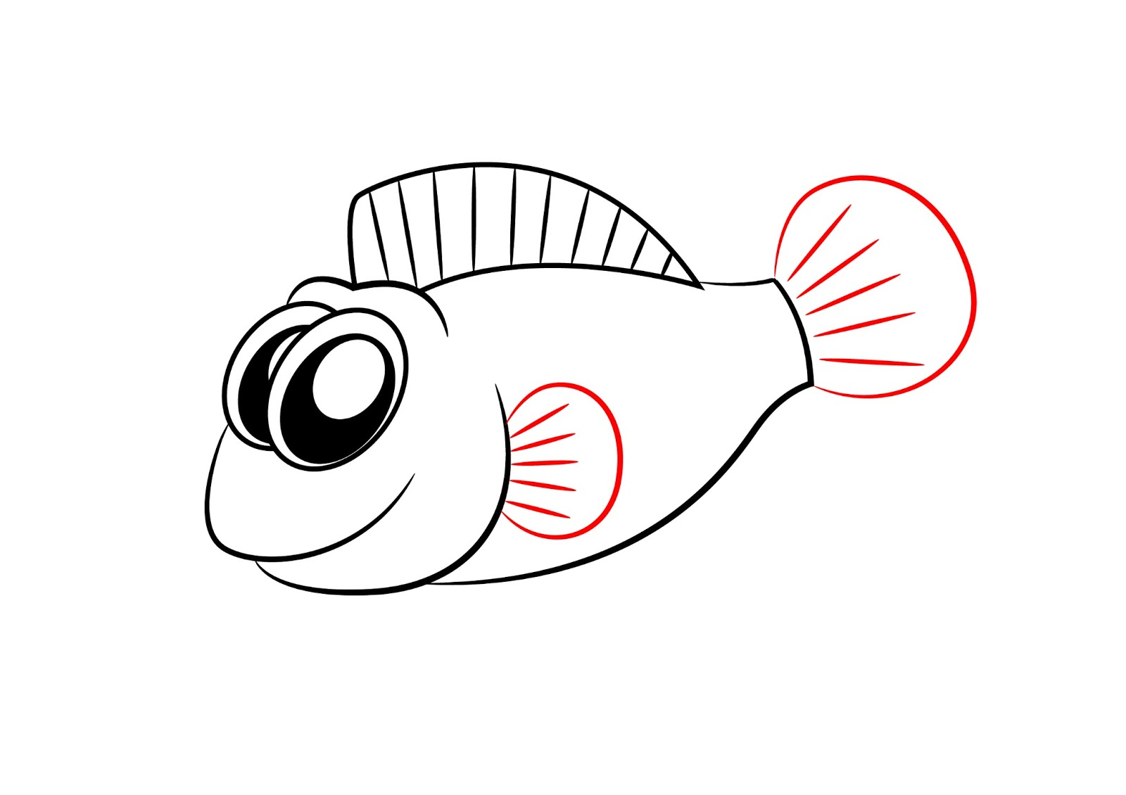1600x1130 cartoon fish drawings how to draw a cartoon fish