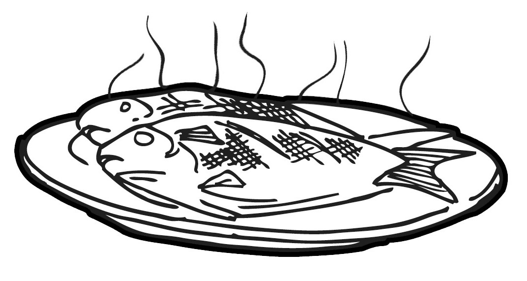 1069x571 Fried Fish Clipart Black And White