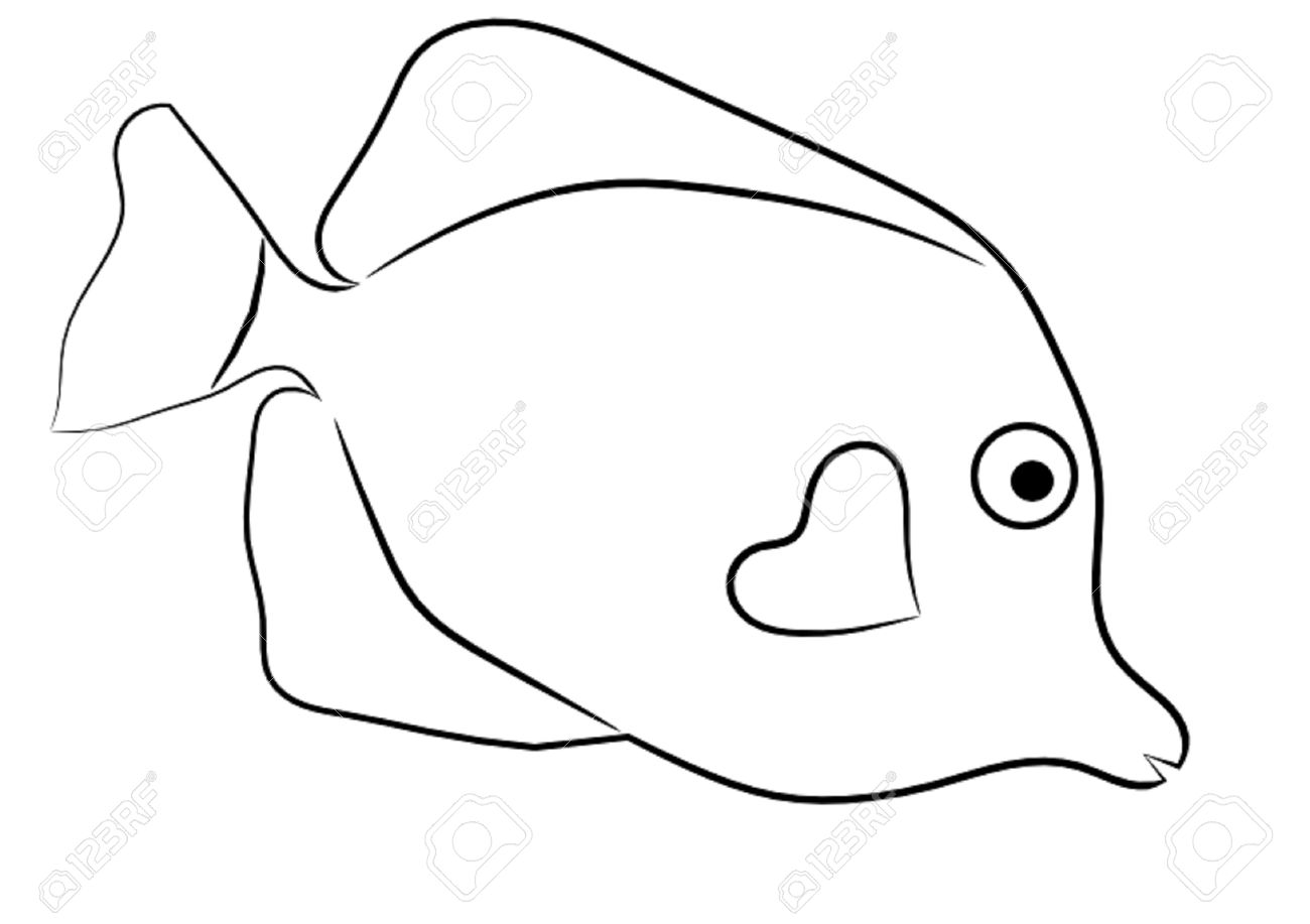 Fish outline cartoon. Clipart black and white