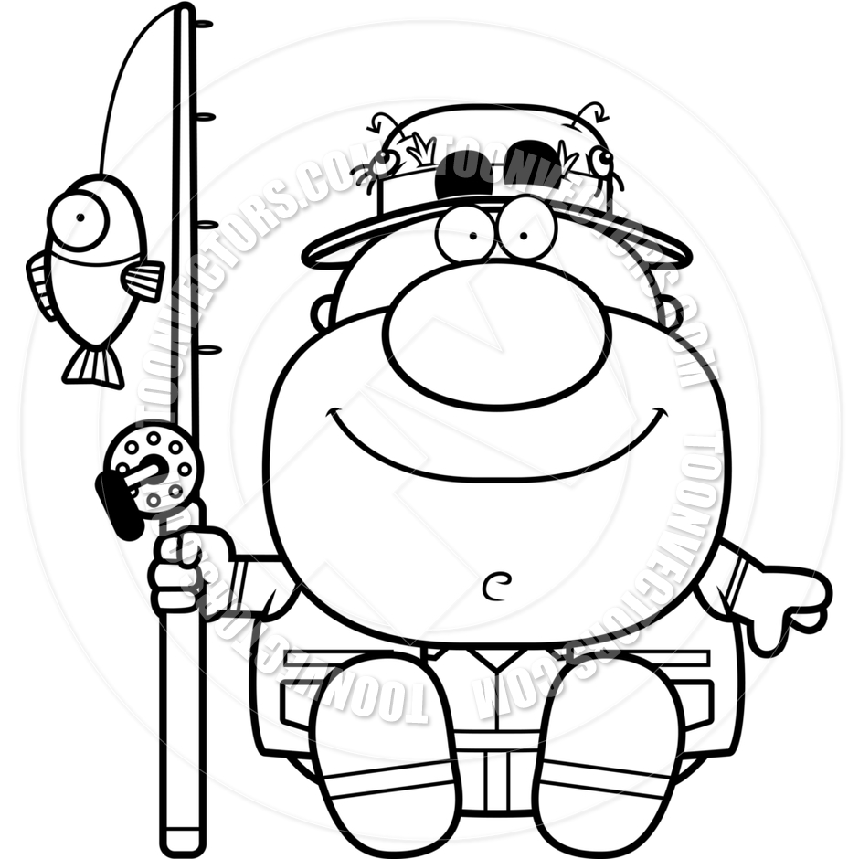 940x940 Cartoon Fisherman Sitting (Black And White Line Art) By Cory