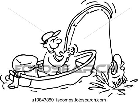 450x337 Clipart Of , Cartoon, Fisherman, People, Action, Cartoons, Sport