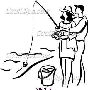 300x305 Couple Fishing Vector Clip Art
