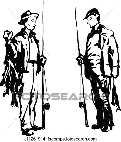 401x470 Clipart Of Two Fishermen K11261914