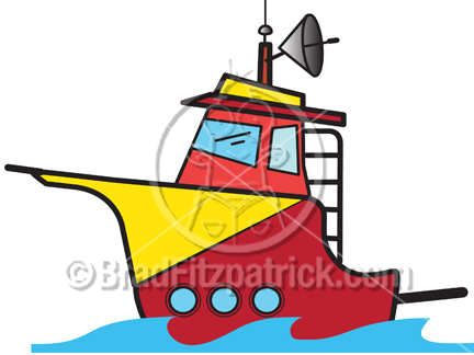 432x324 Cartoon Charter Boat Clipart Picture Royalty Free Fishing Boat