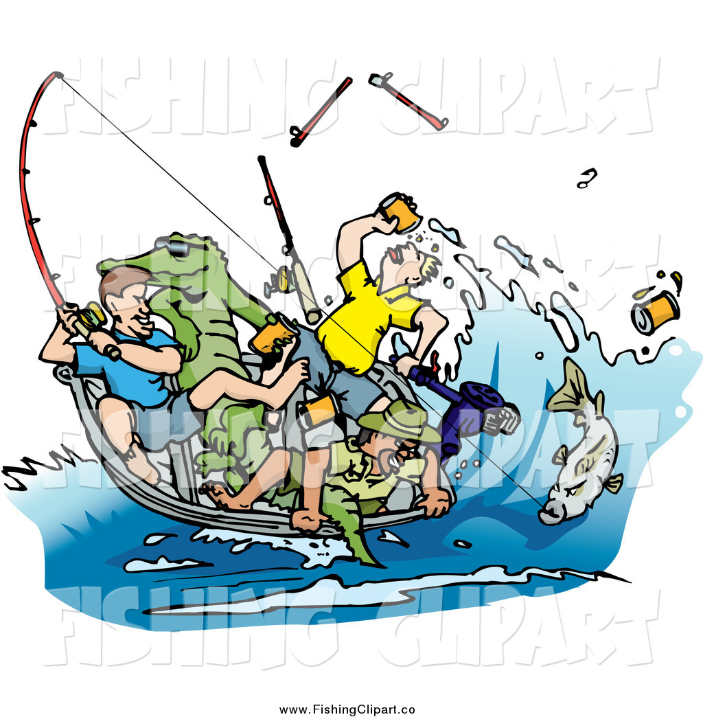 1024x1044 Clip Art Of A Drunk Men Fishing With An Alligator In The Boat By