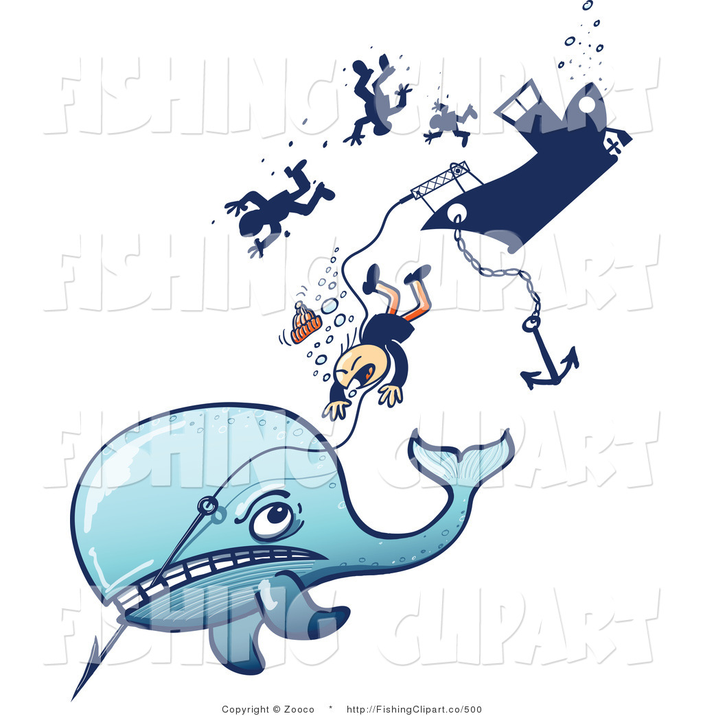 1024x1044 Clip Art Of A Whale Pulling Hunters Down By Zooco