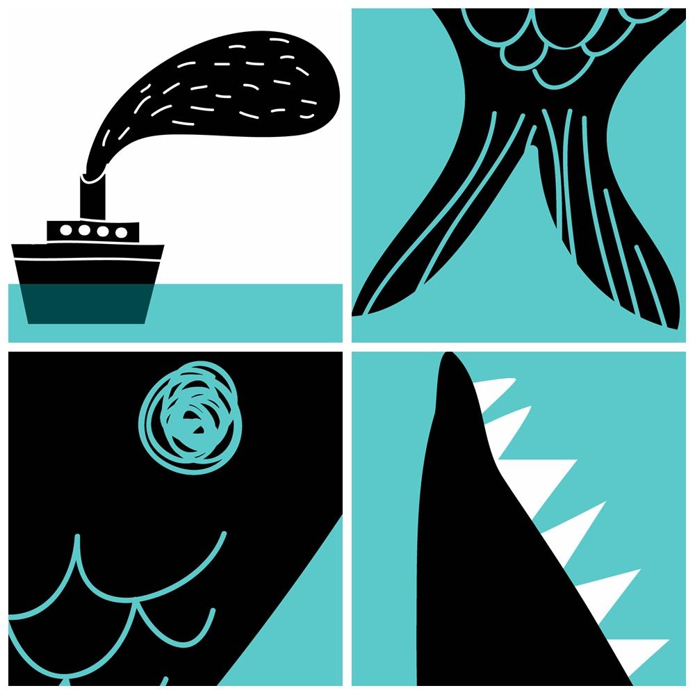 1000x1000 Modern Nordic Minimalist Cartoon Fish Boat Sea A4 Large Art Print