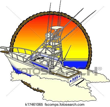 450x437 Clipart Of Offshore Boad, Fishing K17461065